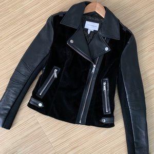 Black Faux Leather & Fur Moto Jacket